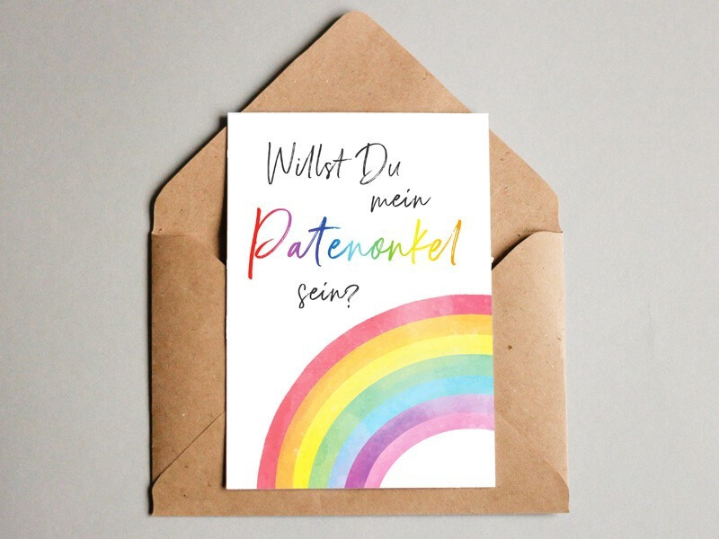 "Karte ""Patenonkel"" Rainbow - 1"