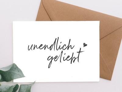 """Karte """"unendlich geliebt"""" - 1"""