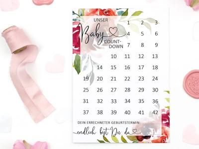 "Baby-Countdown ""Peonies"""