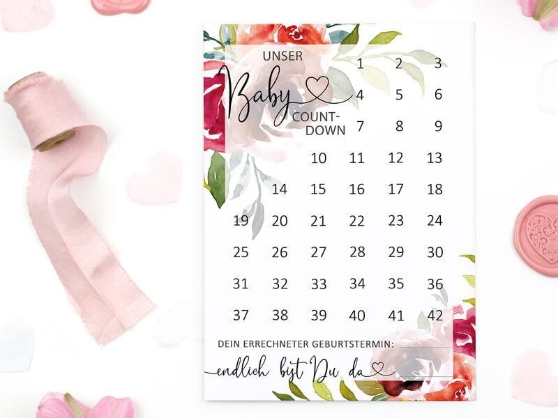 "Baby-Countdown ""Peonies"" - 1"