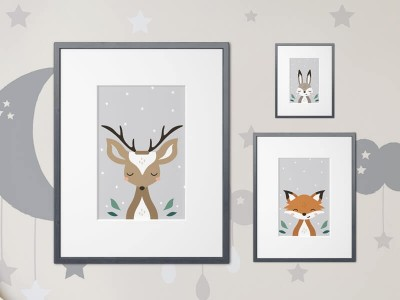 "Poster Set ""Tiere im Wald"""