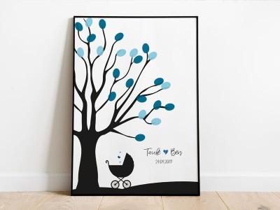 personalisierter Fingerabdruckbaum zur Taufe - 1