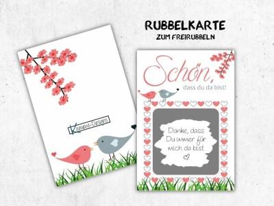 """25x Rubbelkarten """"Schön, dass Du da bist"""" - 1"""