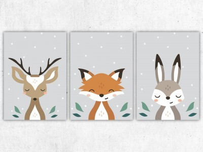 "Poster Set ""Tiere im Wald"" - 2"