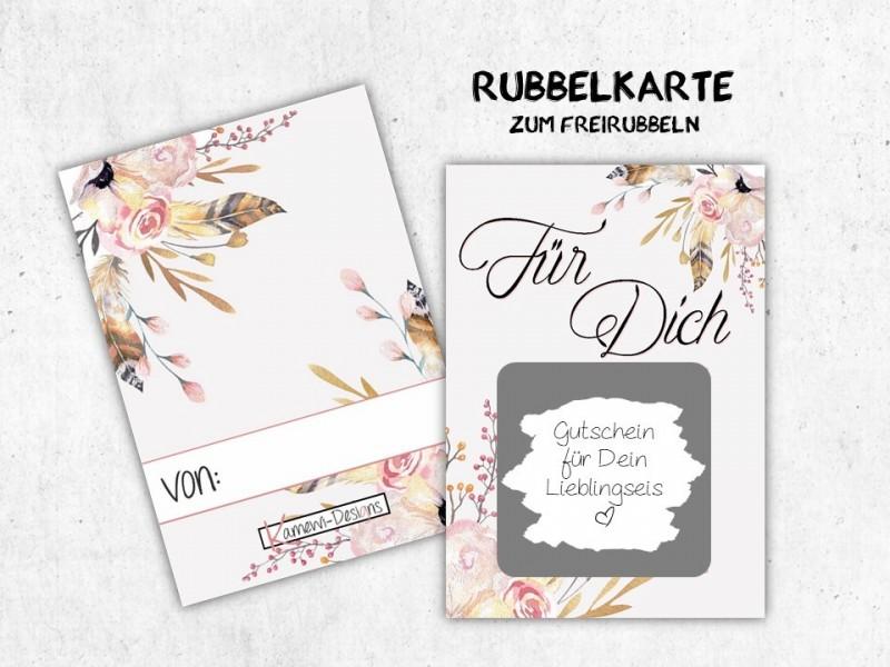 """25x Rubbelkarten """"Für Dich"""" Flowers - 1"""