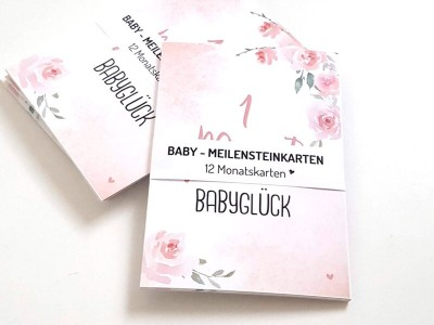 "12 Baby Meilensteinkarten ""Blurry Dream"" - 1"