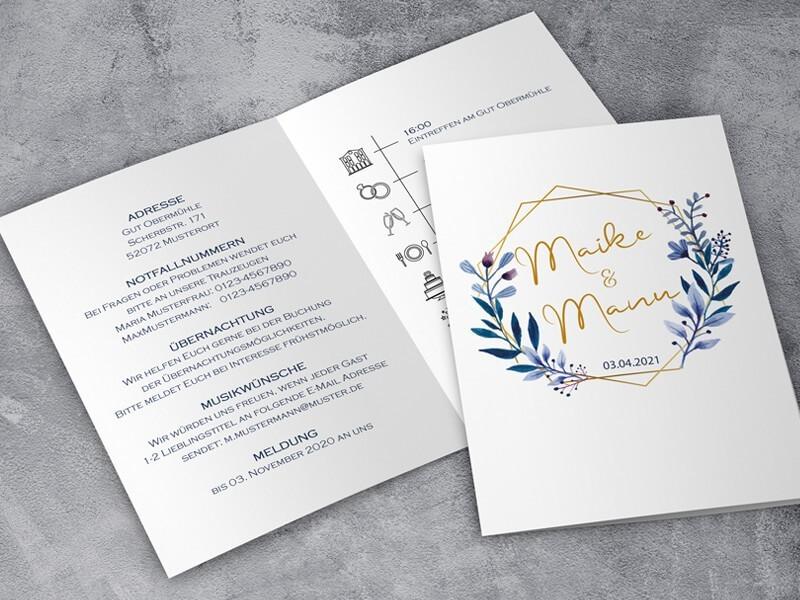 """Einladung Hochzeit """"Elegance"""" Klappkarte - 1"""