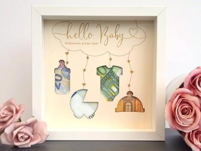 """Geldgeschenk Rahmen """"Hello Baby"""" - 1"""