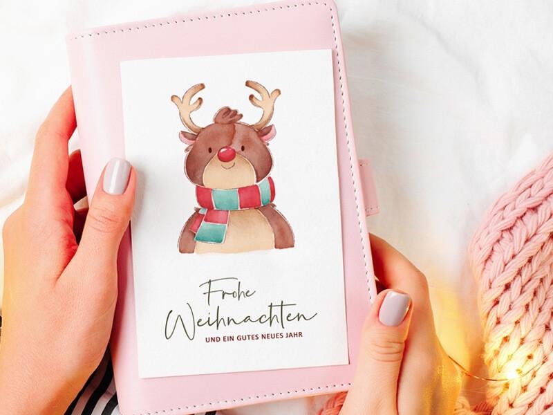 Weihnachtskarte Rentier - 1