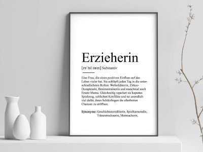 "Poster ""Erzieherin"" Definition - 1"