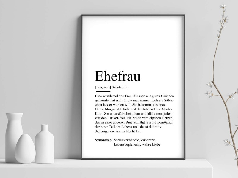 "Poster ""Ehefrau"" Definition - 1"
