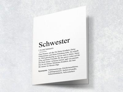 """Karte """"Schwester"""" Definition - 2"""
