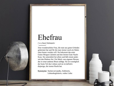 "Poster ""Ehefrau"" Definition - 2"