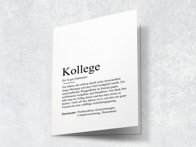 """Karte """"Kollege"""" Definition - 2"""
