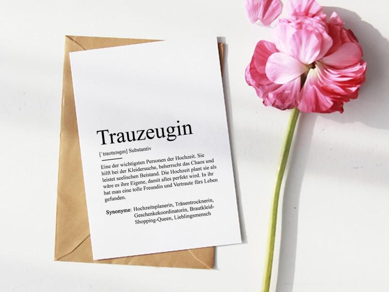 "Karte ""Trauzeugin"" Definition - 1"