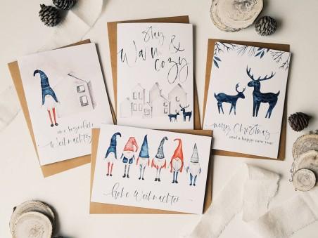 """4er Set Weihnachtskarten """"Scandinavian"""""""
