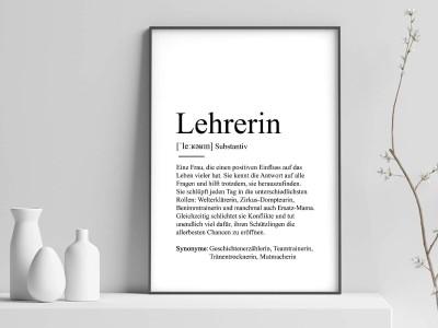 "Poster ""Lehrerin"" Definition - 1"