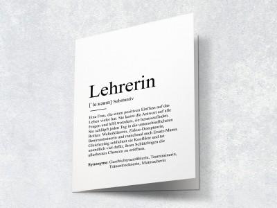 """Karte """"Lehrerin"""" Definition - 2"""