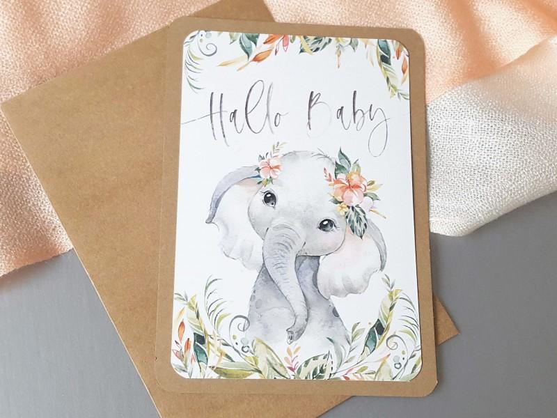"Glückwunschkarte ""Hallo Baby"" Elefant - 1"