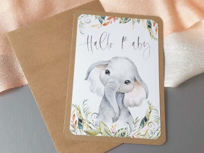 "Glückwunschkarte ""Hallo Baby"" Elefant - 2"