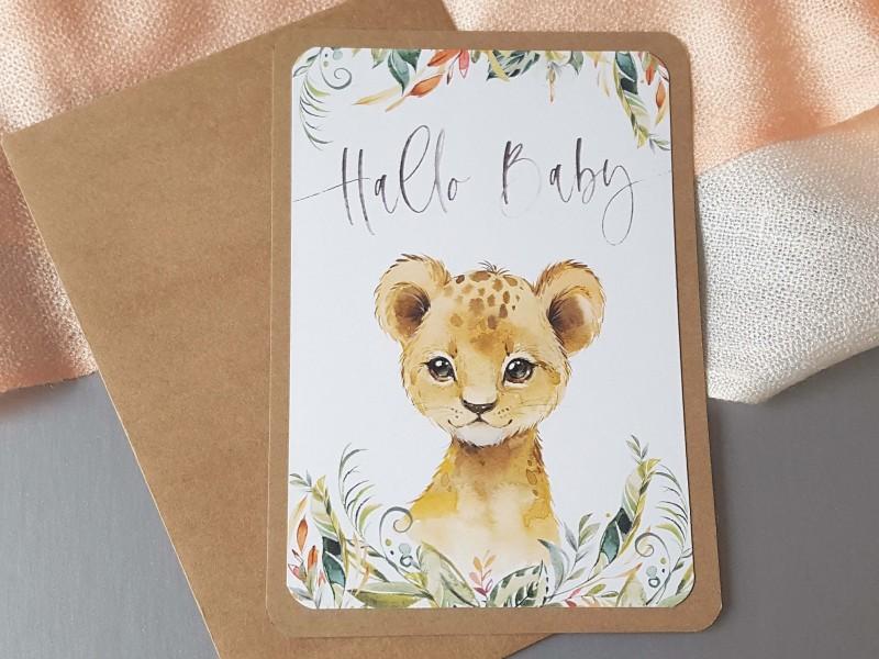 "Glückwunschkarte ""Hallo Baby"" Löwe - 1"