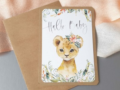 "Glückwunschkarte ""Hallo Baby"" Löwe - 2"