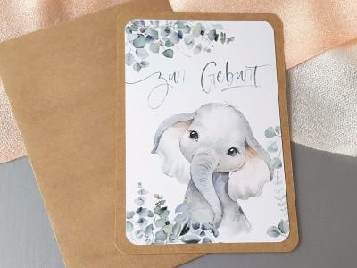 """Glückwunschkarte """"Zur Geburt"""" Elefant - 1"""