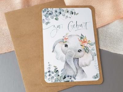 """Glückwunschkarte """"Zur Geburt"""" Elefant - 2"""