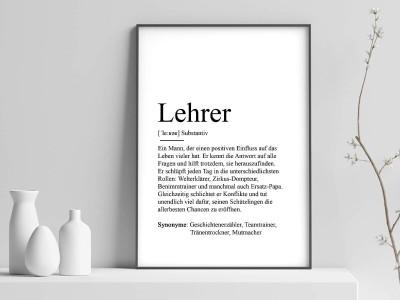 "Poster ""Lehrer"" Definition - 1"