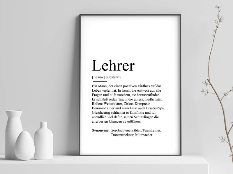 "Poster ""Lehrer"" Definition - 1"