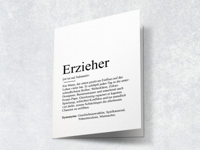 "Karte ""Erzieher"" Definition - 2"