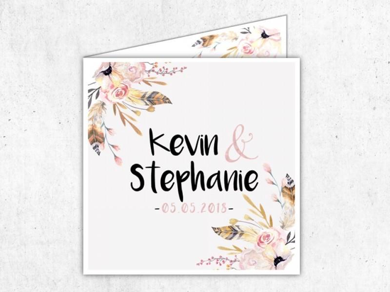 """Einladung Hochzeit Klappkarte """"Flowers"""" - 1"""