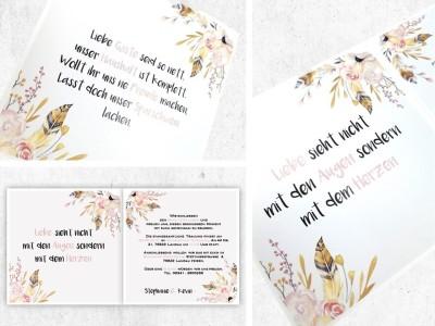 """Einladung Hochzeit Klappkarte """"Flowers"""" - 2"""