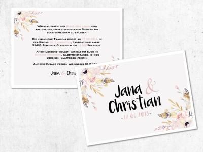 """Einladung Hochzeit """"Flowers"""" - 2"""