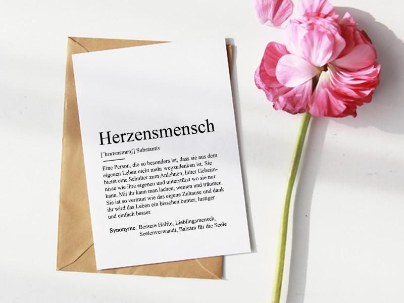 """Karte """"Herzensmensch"""" Definition - 1"""