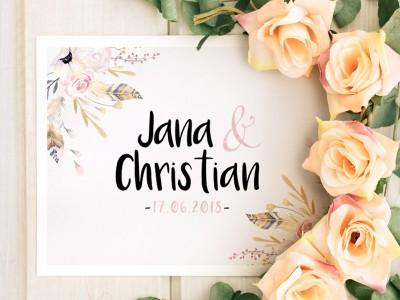 """Einladung Hochzeit """"Flowers"""" - 1"""