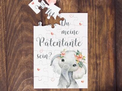 """Puzzle """"Patentante"""" Elefant - 1"""