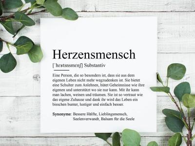 """Leinwandbild """"Herzensmensch"""" Definition - 1"""