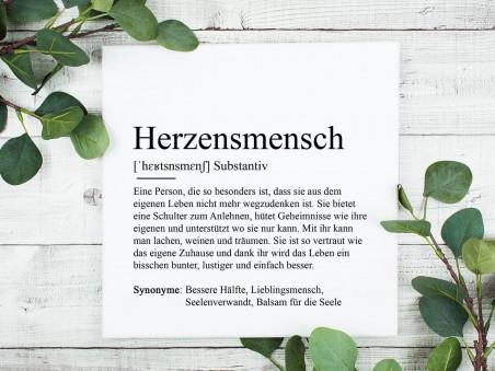 """Leinwandbild """"Herzensmensch"""" Definition"""