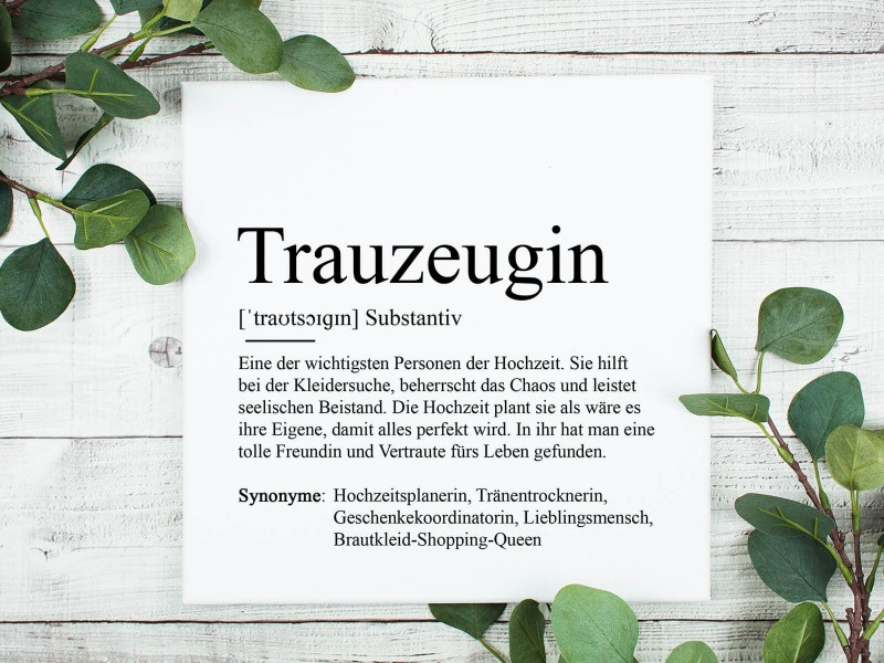 """copy of Poster """"Trauzeugin"""" Definition - 1"""