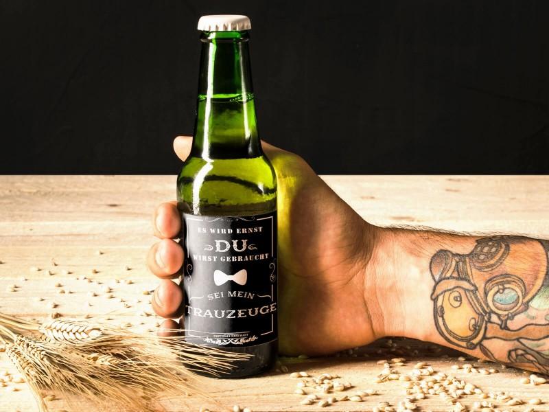 """Bier-Flaschenbanderole """"Trauzeuge"""" - 1"""