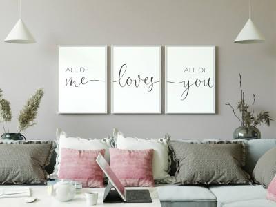 "3er Set Poster ""All Of Me Loves All Of You"" - 1"