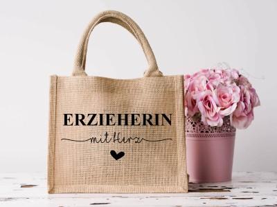 """Jute Tasche """"Erzieherin"""" mit Herz - 1"""