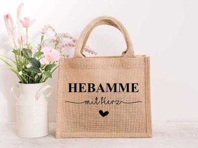 """Jute Tasche """"Hebamme"""" mit Herz - 1"""