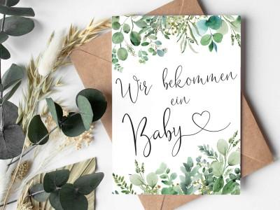"""Karte """"Wir bekommen ein Baby"""" Eucalyptus - 1"""