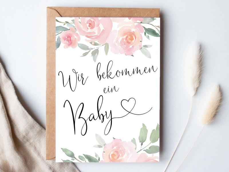 """Karte """"Wir bekommen ein Baby"""" Roses - 1"""