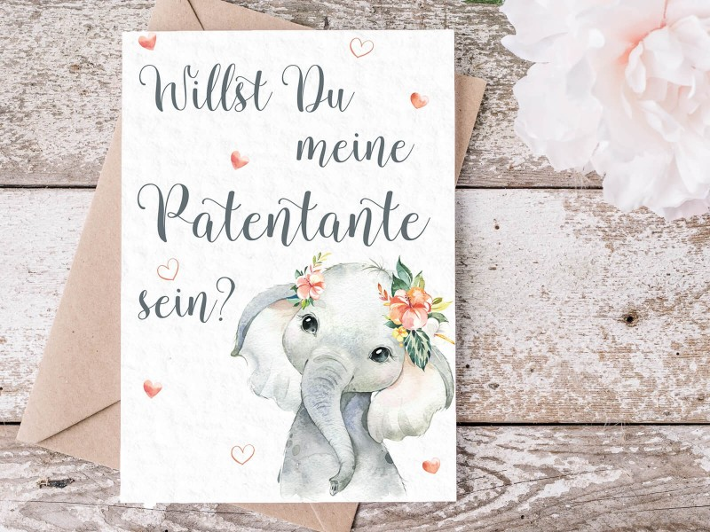 "Karte ""Patentante"" Elefant - 2"