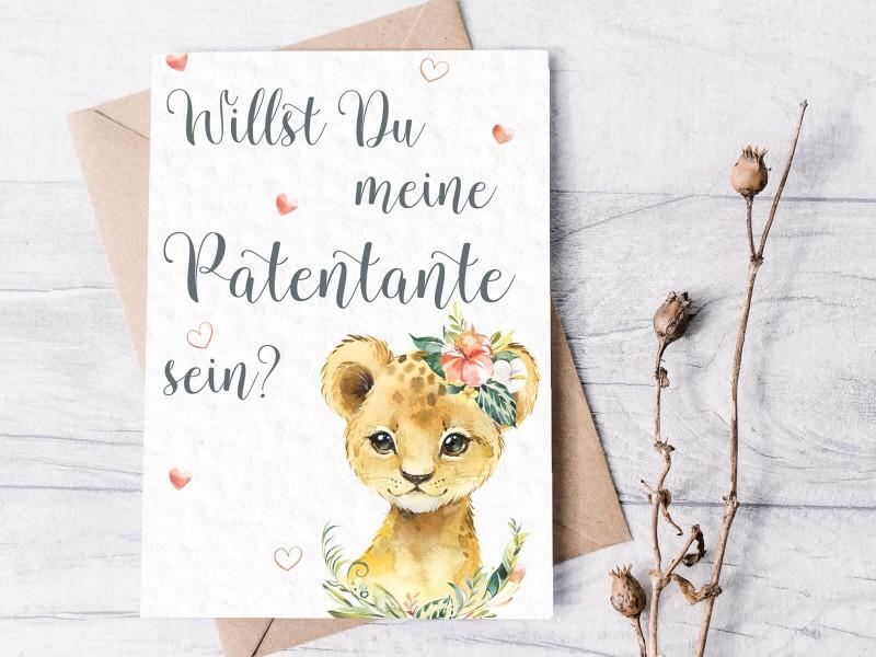 """Karte """"Patentante"""" Löwe - 1"""