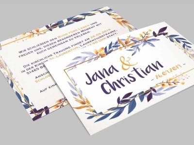 """Einladung Hochzeit """"Watercolor"""" - 2"""