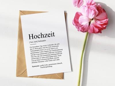 """Karte """"Hochzeit"""" Definition - 1"""
